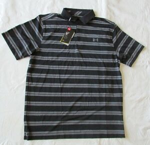 New Mens UNDER ARMOUR 2XL Black & Gray Striped Golf Polo Loose Fit NWT
