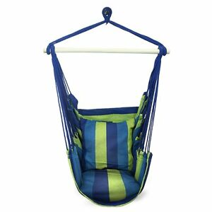 NEW Blue Green Hanging Hammock Chair Seat Swing Outdoor Patio Tree Portable Camp