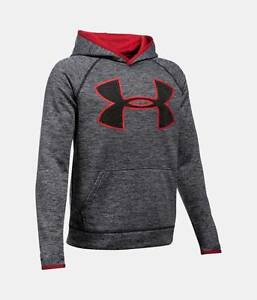 Under Armour Boys UA Storm Fleece Twist Highlight Big Logo Hoodie Heather
