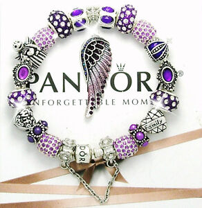 Authentic Pandora Silver Bracelet MOM Purple Angel Wing Wife European Charms New