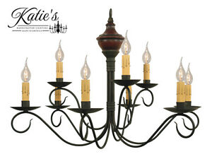 Washington Wood 2 Tier Chandelier by Katie#x27;s Colonial Primitive Country NEW