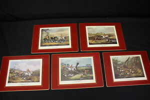 Mint Set of 5 Lady Clare Large Placemats Shayer#x27;s English Fox Hunting Box