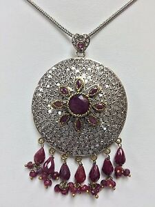 Sterling Silver  Cubic Zirconia Turkish Hand Crafted Necklace Pendant 19