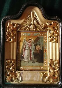 ANTIQUE 19c HAND PAINTED RUSSIAN ICON OF ST.MIHAIL ST.MICHAEL WITH KIOT $1350.00