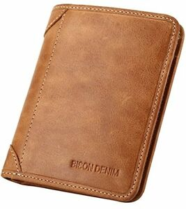 BROWN Genuine Cowhide Leather Bifold Wallet FOR MEN Cash ID Slots Card HOLDER