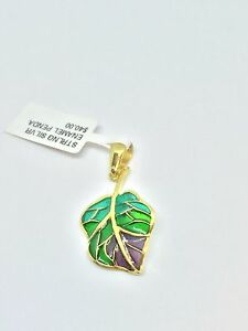 Yellow Gold PVD Sterling Silver 925 Enamel Leaf Pendant  Turkish Hand Made