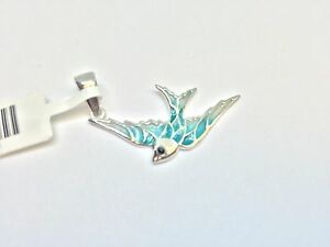 Sterling Silver 925 Enamel Bird Pendant  Turkish Hand Made