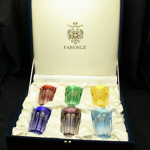 Set of 6 Faberge Arabesque Tumblers Glasses Cased Crystal Gift Box
