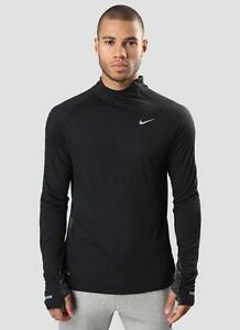 New Nike Mens Black Two-Tone Dri-FIT Wool Long Sleeve Running Shirt MSRP $110.00
