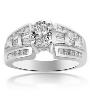 1.50 Carat F-VS1 Natural Oval Shape Diamond Designer Engagement Ring Platinum