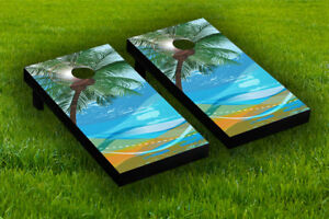 Abstract Beach Scene Cornhole Board Wraps Laminated Sticker Set Skin Decal