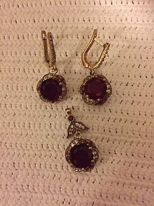 Turkish Synthetic Ruby Topaz Pendant and Earrings Sterling Silver Bronze
