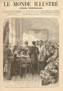 Russia Office Of The Slavic Committee Refugees 1876 French Antique Art Print