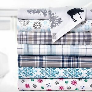 Bibb Home 100% Cotton Printed Flannel Sheet Set Cozy, Soft, Deep Pocket Sheets