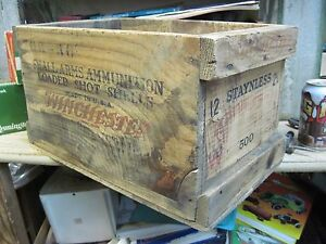 WINCHESTER STAYNLESS  SHOTGUN SHELL wood wooden SHIPPING crate box 12 GA EMPTY