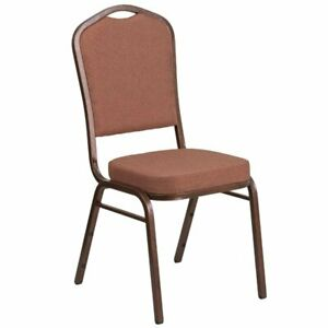 Flash Furniture Fabric Banquet Chair in Coppervein and Brown