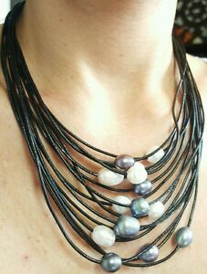Waterfall of freshwater black grey white pearl leather necklace Hawaii style