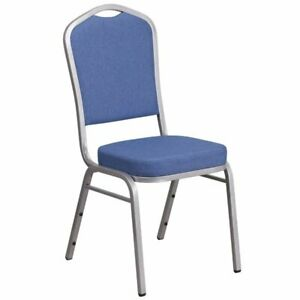 Flash Furniture Fabric Banquet Stack Chair in Silver and Blue