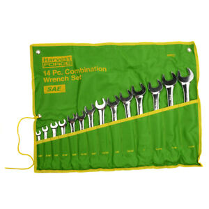 14PC Piece SAE Standard Combination Wrench Set w Roll-Up Pouch 3/8