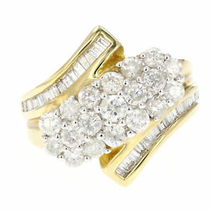 1.5 CT Diamond Cocktail Ring Yellow Gold Plated Over Silver Size 7