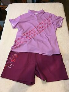 Nike Golf Womens Graphic Polo Shirt & Shorts Set FLYING BIRDS LARGE Michelle Wie