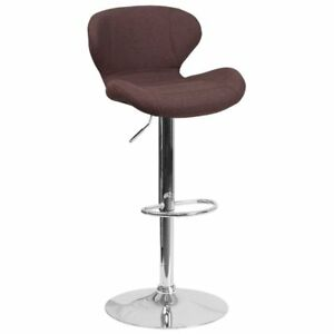 Flash Furniture Fabric Adjustable Bar Stool in Brown