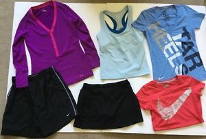 Women's Work Out Athletic Shirt Shorts LOT Size Medium Under Armour Nike EXC!!