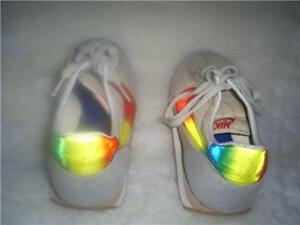 NEW VINTAGE NEVER WORN NIKE REFLECTIVE SWOOSH ATHLETIC SHOES 1980'S RARE LABEL
