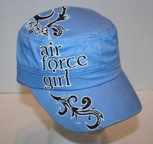 NWT Eagle Crest Extreme Embroidery Blue Air Force Girl Flat Top Cap Ships FREE!