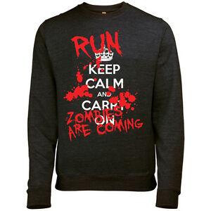 KEEP CALM AND CARRY ON HALLOWEEN RUN ZOMBIES MENS PRINTED SWEATSHIRT JUMPER
