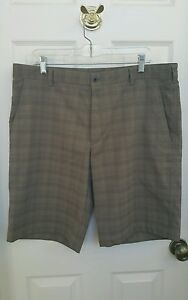 NIKE GOLF SHORTS BROWN PLAID FIT DRY SIZE 36