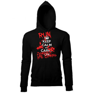 KEEP CALM AND CARRY ON HALLOWEEN RUN ZOMBIES MENS PRINTED HOODIE