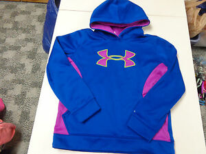 UNDER ARMOUR STORM  PULLOVER HOODIE  BLUE  W    LOGO  GIRLS  LARGE LOOSE