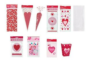 6 8 20 50 St Valentines Red Heart Party Gift Cello Cone Bags favors favours