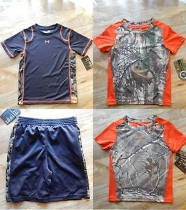NWT UNDER ARMOUR Boys' 4-Pc Lot Real Tree Camo Size 3T Shirts & Shorts $105