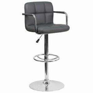 Flash Furniture Faux Leather Quilted Adjustable Bar Stool in Gray