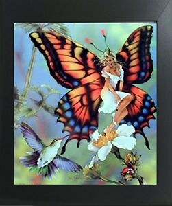 Flower Butterfly Fairy amp; Fantasy Scene Wall Contemporary Black Framed Picture $54.98