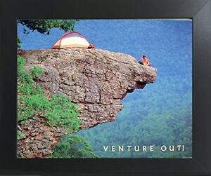 Venture Out Cliff Climbing Motivational Wall Contemporary Black Framed Picture $53.98