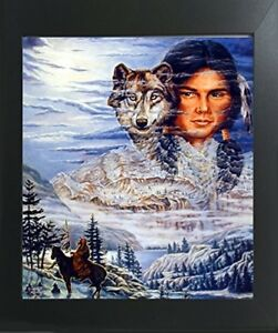 Brave Wolf Native American Fine Wall Contemporary Black Framed Picture 20x24 $54.98