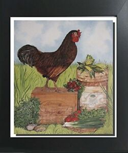 Mirassou Cockadoodledoo Rooster Chicken Wall Contemporary Black Framed Picture $54.98