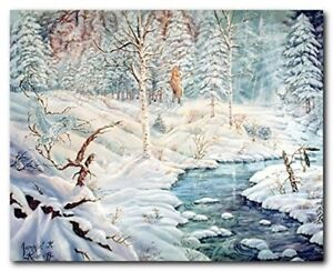 Albinos of Birch Creek Covered with Snow Scenery Nature Wall Art Print 16x20