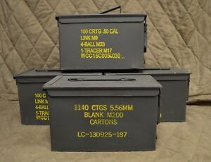 (4 PACK) 50 Cal M2A1 AMMO CAN GOOD CONDITION * FREE SHIPPING *