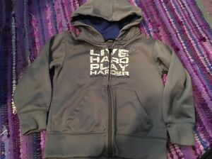 Boys Under Armour Gray Jacket Hoodie Size 4T Live Hard Play Harder!