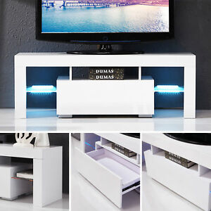 High Gloss White LED Shelves TV Stand Unit Cabinet Console Furniture wDrawers