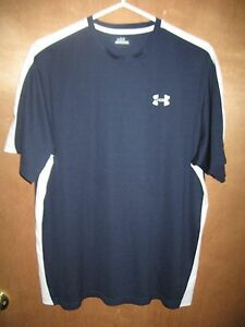 EUC--Men's Under Armour -Size Large -BLUE & WHITE SHORT SLEEVE SHIRT