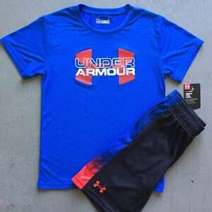 BOYS SIZE 3T UNDER ARMOUR BLUE SHIRT & BLACK SHORTS OUTFIT NWT