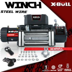 X-BULL  12000LBS Electric Winch 12V IP67 Towing Truck 2 Wireless Steel Cable 4WD