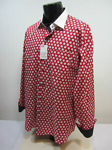 Dash Men's 2XL Red White Baseballs Flip Cuffs Button Up Shirt NWT