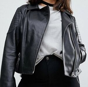 Women Designer Black Leather Jacket Plus Size or Custom Made WJ #500