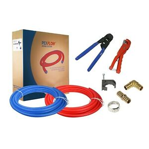 Kit 12 In X100 Pex Tubing with Crimper & Cutter Tools Elbow & Coupling Fittings